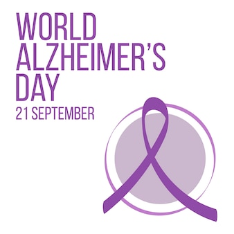 World world alzheimer's day concept. banner template with purple ribbon and text.  vector illustration.