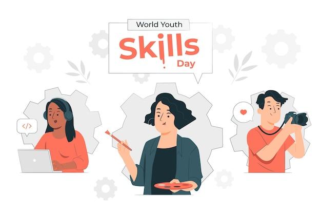Illustrazione di concetto di giornata mondiale delle abilità giovanili