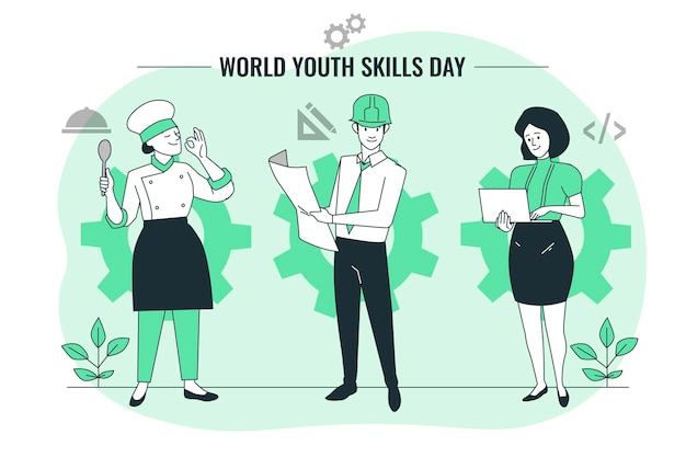 세계 청소년 기술의 날 개념 그림