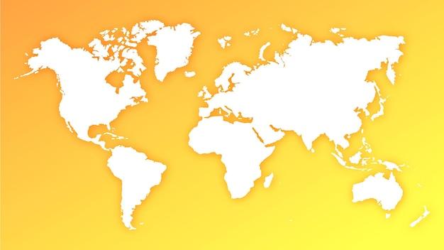 黄色とオレンジ色のグラデーションの背景に世界地図地球儀のシルエット