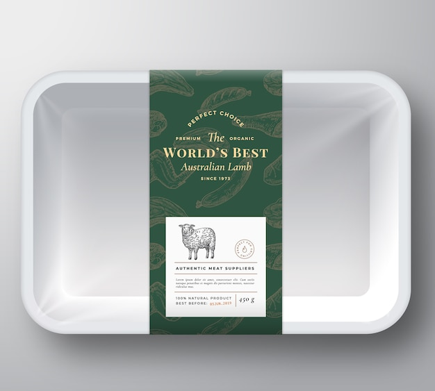 Worlds best lamb abstract vector plastic tray container cover
