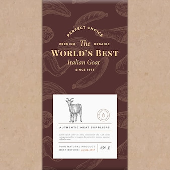 Worlds best meat abstract vector craft paper vintage cover layout