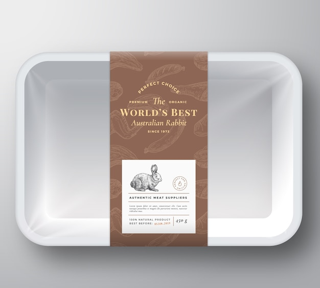 Worlds best rabbit abstract vector plastic tray container cover