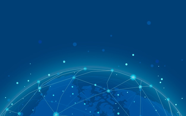 Vettore blu dell'illustrazione della priorità bassa del collegamento in tutto il mondo