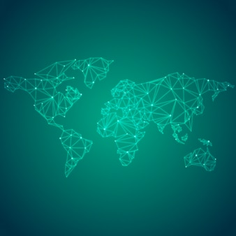Worldwide connection green background illustration vector