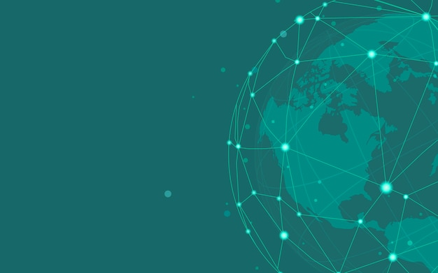 전세계 연결 녹색 배경 일러스트 벡터