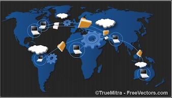 Worldwide data sharing concept backgrounds vector set