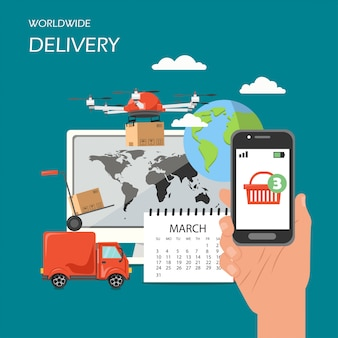 Worldwide delivery  flat style