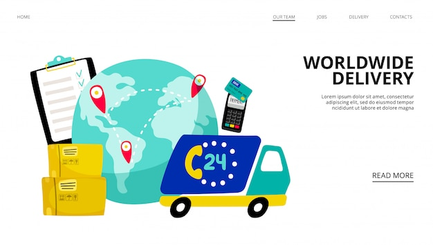 Worldwide delivery landing page