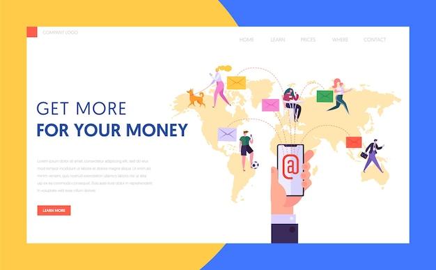 世界的な電子メール通信の概念のランディングページ。携帯電話のウェブサイトまたはウェブページ上のビジネスおよびマーケティンググローバルネットワークおよびソーシャルメディア広告コンテンツ。フラット漫画ベクトルイラスト