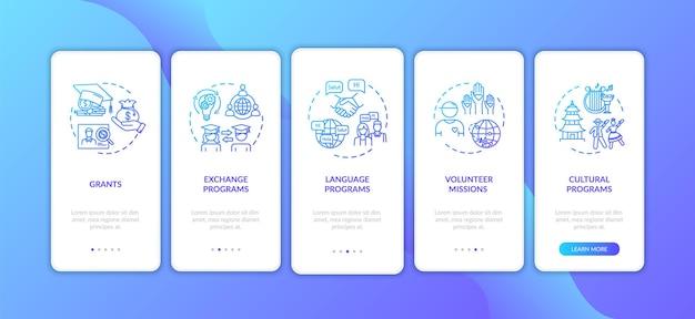 コンセプトを備えたワールドワイドエクスチェンジのオンボーディングモバイルアプリページ画面。ボランティアミッション。海外での教育のウォークスルー5ステップのグラフィックの説明。 rgbカラーイラストとuiベクトルテンプレート