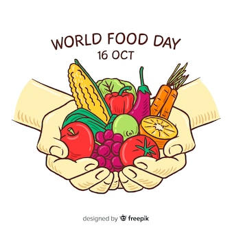 Worldwide food day with person holding veggies