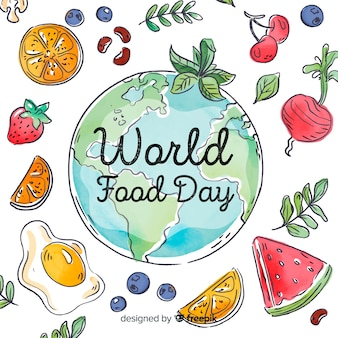 Worldwide food day with slices of vegetables