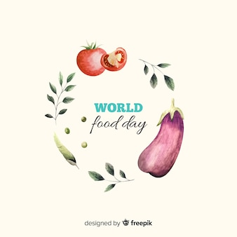 Worldwide food day with veggies watercolour design
