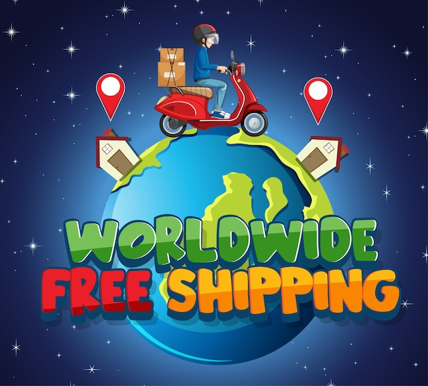 Worldwide free shipping logo with bike man or courier