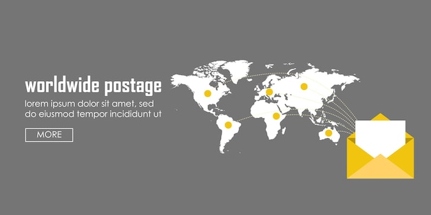 Worldwide postage concept banner. web vector illustration infographic template.