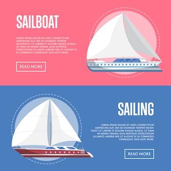 Worldwide sailing banner set with sailboats