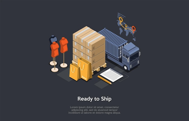 전세계 배송 의류 개념. autotruck이 컨테이너를 운송합니다. 지도에 소포 상자, 마네킹, 연필 및 메모장