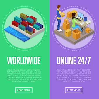 Worldwide shipping and delivery service banner web set