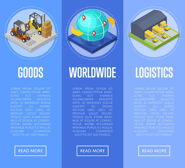 Worldwide shipping and goods delivery banner web set
