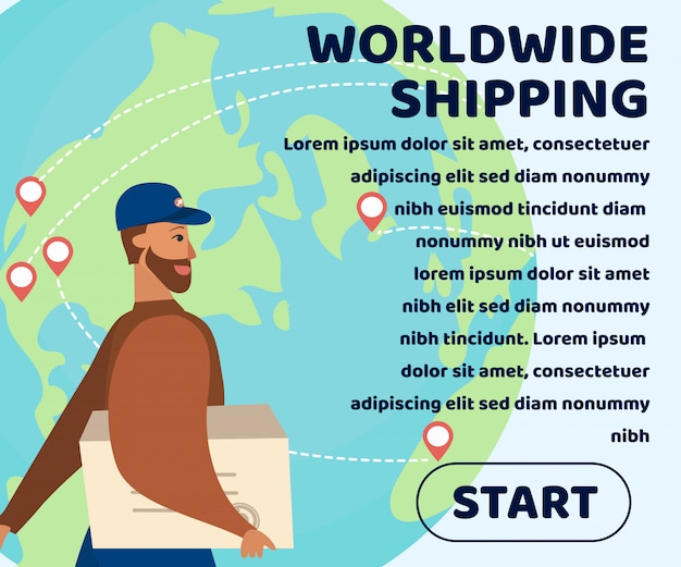 Worldwide shipping webpage with promotion text