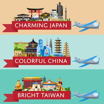 Worldwide travel banner set with famous attractions