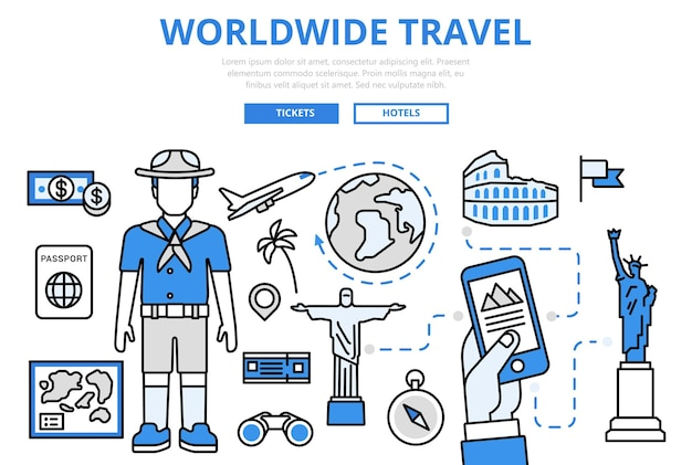 Worldwide travel vacation holiday landmark sightseeing plane ticket booking concept flat line art  icons.