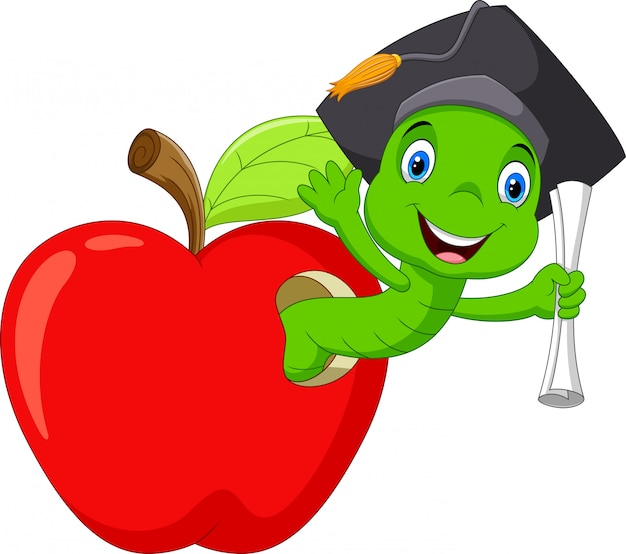 A worm in the red apple was glad to have a college degree