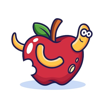 Apple cartoon でワーム。食品アイコン イラスト、分離