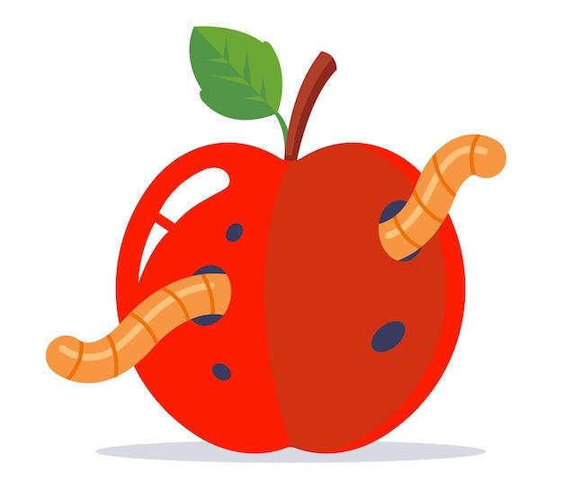 녹색 잎을 가진 벌레 같은 빨간 사과. 평면 벡터 일러스트 레이 션.