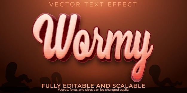 Wormy text effect, editable garden and biology text style
