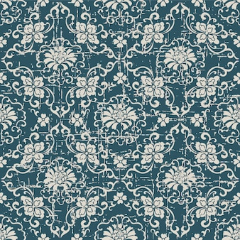 Worn out antique seamless pattern with botanic cross spiral flower vine