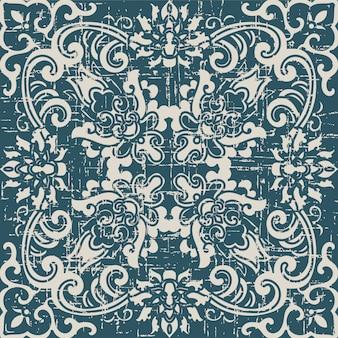 식물 나선형 십자가 꽃과 골동품 원활한 패턴을 착용