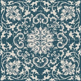 식물 나선형 포도 나무 십자가 꽃과 골동품 원활한 패턴을 착용