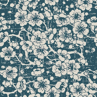 Worn out antique seamless pattern with cross plum blossom