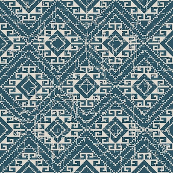 Worn out antique seamless pattern with diamond spiral dot line