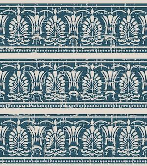 팬 모양 잎 점선으로 낡은 골동품 원활한 패턴
