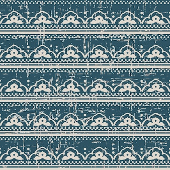 Worn out antique seamless pattern with flower dot line