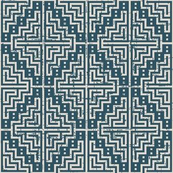 モザイクスクエアジオメトリクロスエレメントで磨耗したアンティークのシームレスパターン