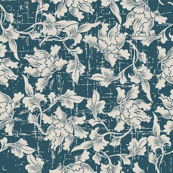 Worn out antique seamless pattern with nature botanic leaf