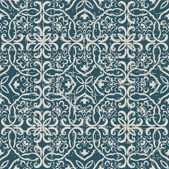 Worn out antique seamless pattern with polygon spiral cross chain