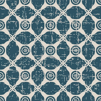 Worn out antique seamless pattern with round corner dot frame