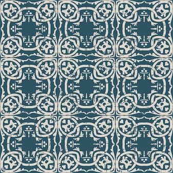 Worn out antique seamless pattern with round spiral botanic chain plant