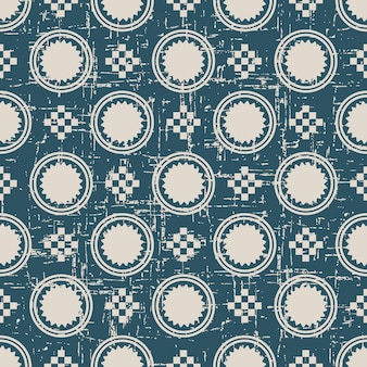 丸い正方形のモザイククロスでアンティークのシームレスパターンを着用