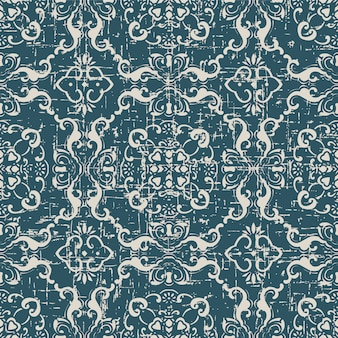 Worn out antique seamless pattern with spiral chain flower