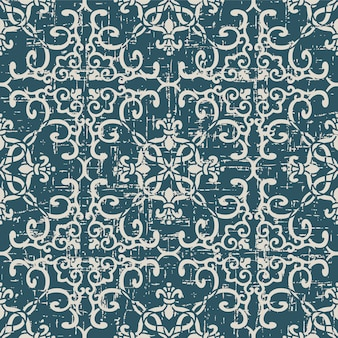 Worn out antique seamless pattern with spiral cross chain