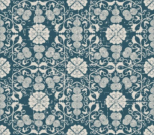 나선형 십자가 조롱박 덩굴 꽃과 골동품 원활한 패턴을 착용