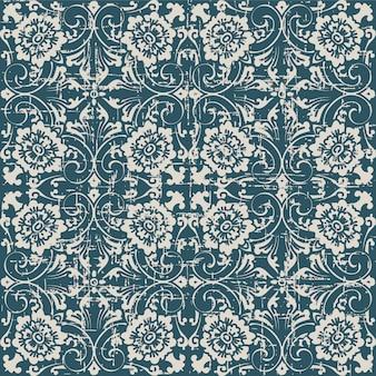 나선형 십자가 잎 꽃과 골동품 원활한 패턴을 착용
