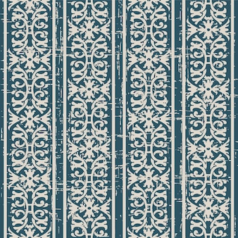 Worn out antique seamless pattern with spiral flower chain