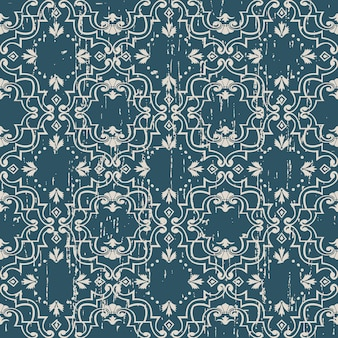 Worn out antique seamless pattern with spiral flower dot